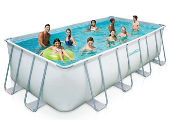 Summer Waves Rectangular Metal Frame Swimming Pool Package