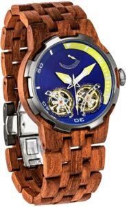 Wilds Dual Wheels Automatic Movement Transparent Dial Men's Wooden Watch