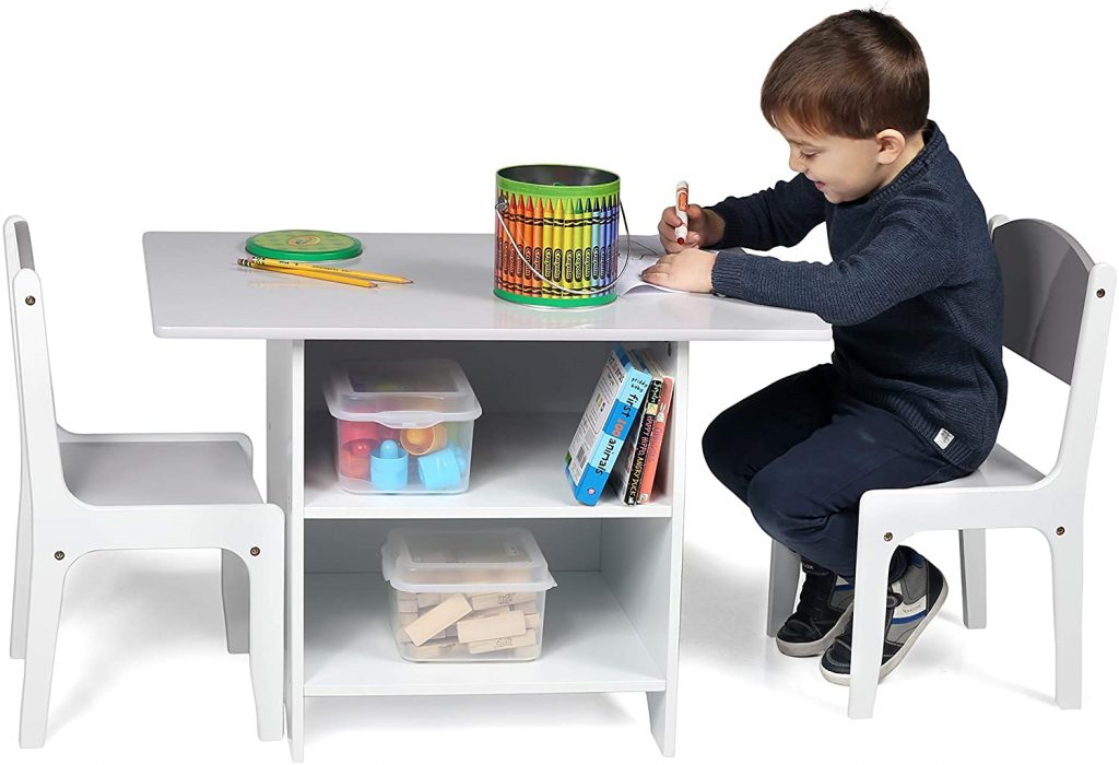 Milliard Kids Table And Chair Set Wood With Storage Baskets On Shelves