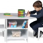 Milliard Kids Desk And Chair Set Wood With Storage Baskets On Shelves