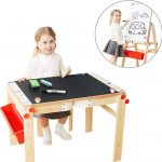 Wooden Art Easel For Kids Art Table With Storage